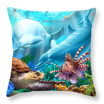 Seavilians Throw Pillow by Jerry LoFaro