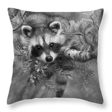 Seeking Mischief - Black And White Throw Pillow by Lucie Bilodeau