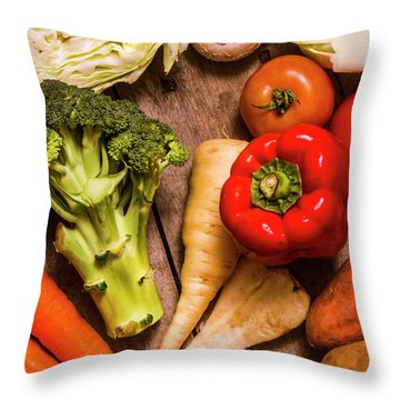 Selection Of Fresh Vegetables On A Rustic Table Throw Pillow by Jorgo Photography - Wall Art Gallery