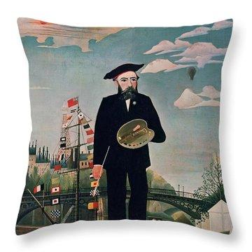 Self Portrait From Lile Saint Louis Throw Pillow by Henri Rousseau