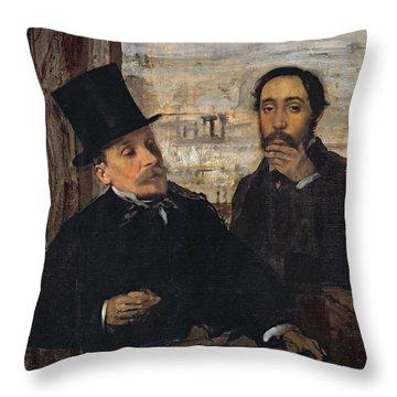Self Portrait With Evariste De Valernes Throw Pillow by Edgar Degas