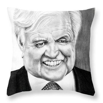 Senator Edward Kennedy Throw Pillow by Murphy Elliott