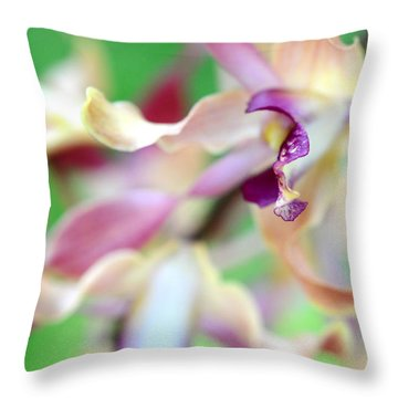 Sensual Touch Of Exotic II. Orchid II Throw Pillow by Jenny Rainbow