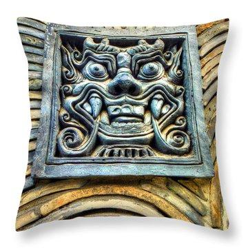 Seoul Mask Tile Throw Pillow by Michael Garyet