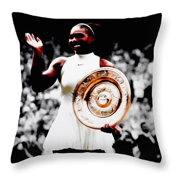 Serena 2016 Wimbledon Victory Throw Pillow by Brian Reaves