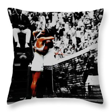 Serena Williams And Angelique Kerber Throw Pillow by Brian Reaves