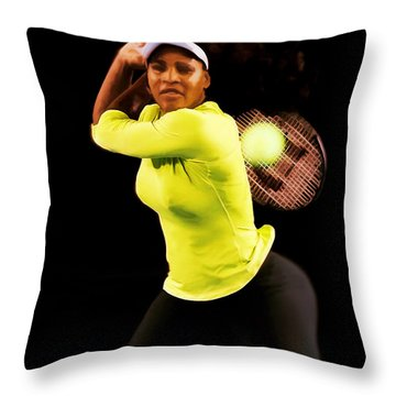 Serena Williams Bamm Throw Pillow by Brian Reaves