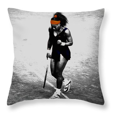 Serena Williams Match Point 3a Throw Pillow by Brian Reaves