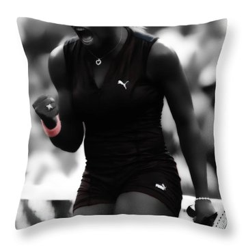 Serena Williams On Fire Throw Pillow by Brian Reaves
