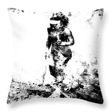Serena Williams Dont Quit Throw Pillow by Brian Reaves