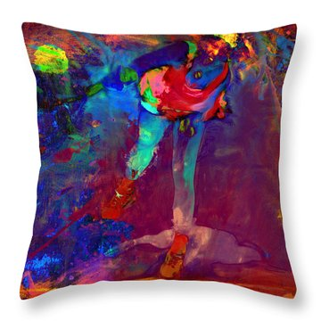 Serena Williams Return Explosion Throw Pillow by Brian Reaves