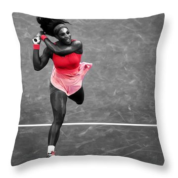 Serena Williams Strong Return Throw Pillow by Brian Reaves