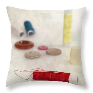 Sewing Supplies Throw Pillow by Joana Kruse