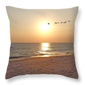 Shackleford Banks Sunset Throw Pillow by Betsy Knapp