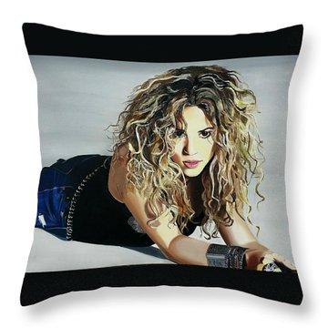 Shakira  Throw Pillow by Gitanjali  Sood