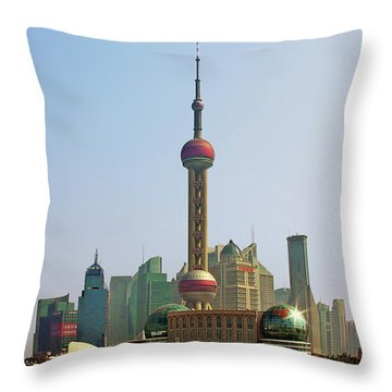 Shanghai Pudong - Today Denser Than Yesterday But Less Than Tomorrow Throw Pillow by Christine Till