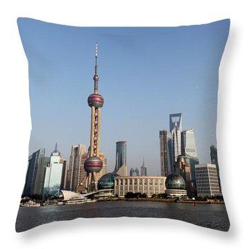 Shanghai Skyline Throw Pillow by Thomas Marchessault