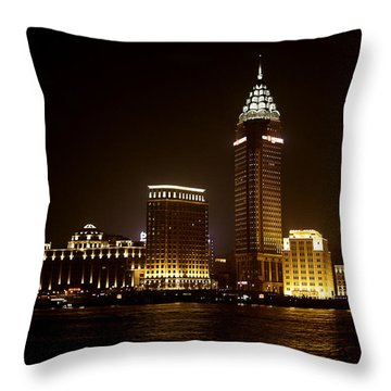 Shanghai's Bund Is Back To Its Best Throw Pillow by Christine Till