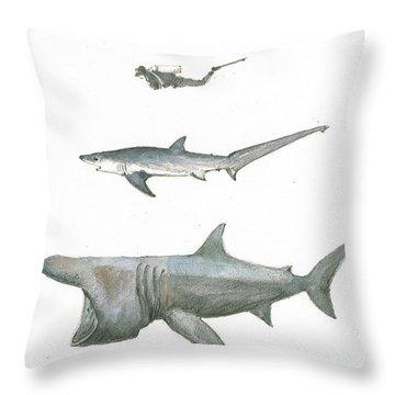 Sharks In The Deep Ocean Throw Pillow by Juan Bosco
