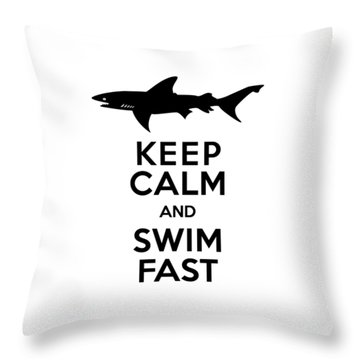 Sharks Keep Calm And Swim Fast Throw Pillow by Antique Images