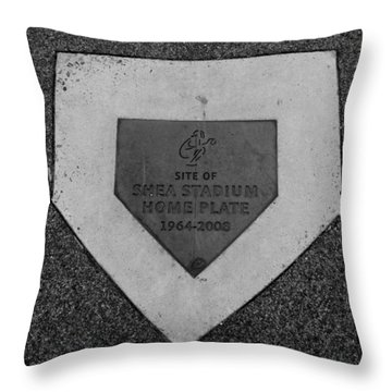 Shea Stadium Home Plate In Black And White Throw Pillow by Rob Hans