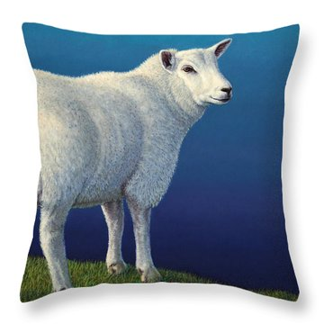 Sheep At The Edge Throw Pillow by James W Johnson