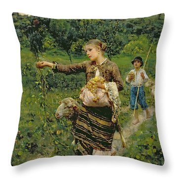 Shepherdess Carrying A Bunch Of Grapes Throw Pillow by Francesco Paolo Michetti