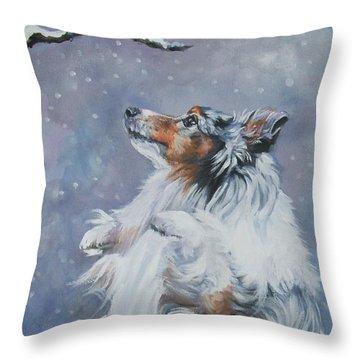 Shetland Sheepdog With Chickadee Throw Pillow by Lee Ann Shepard