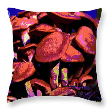 Shimmering Shrooms Throw Pillow by DigiArt Diaries by Vicky B Fuller
