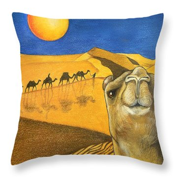Ship Of The Desert Throw Pillow by Robert Lacy
