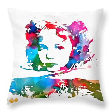 Shirley Temple Watercolor Paint Splatter Throw Pillow by Dan Sproul
