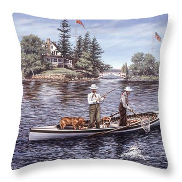 Shore Lunch On The Line Throw Pillow by Richard De Wolfe