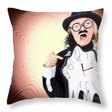 Shouting Businessman Stressed From Rush Hour Throw Pillow by Jorgo Photography - Wall Art Gallery
