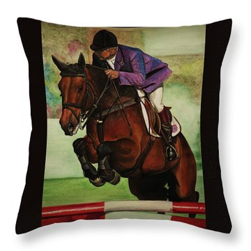 Showjumping Throw Pillow by Lucy Deane