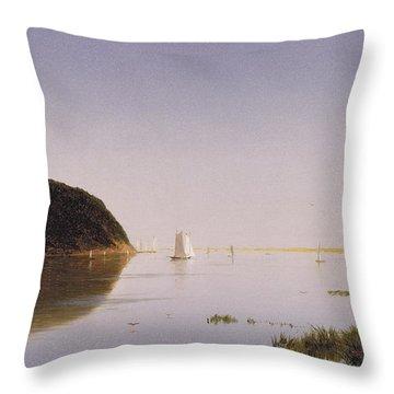 Shrewsbury River - New Jersey Throw Pillow by John Frederick Kensett