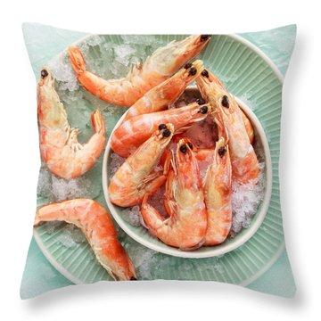 Shrimp On A Plate Throw Pillow by Anfisa Kameneva