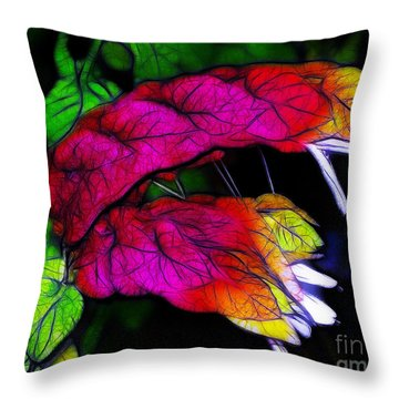 Shrimp Plant Throw Pillow by Judi Bagwell