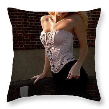 Shy Throw Pillow by Clayton Bruster