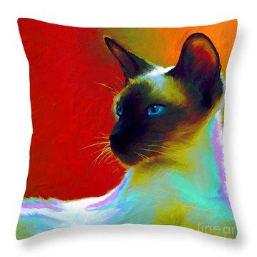 Siamese Cat 10 Painting Throw Pillow by Svetlana Novikova