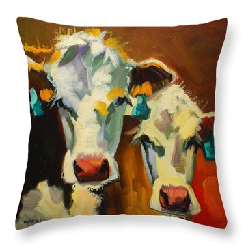 Sibling Cows Throw Pillow by Diane Whitehead