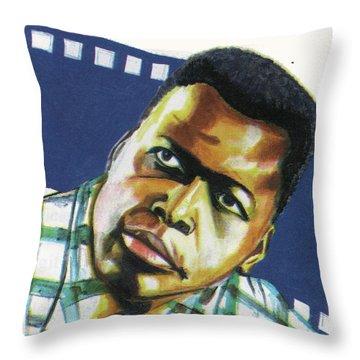 Sidney Poitier Throw Pillow by Emmanuel Baliyanga