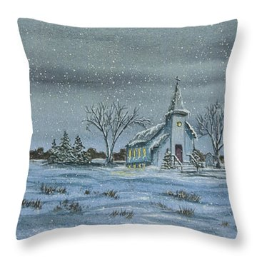 Silent Night Throw Pillow by Charlotte Blanchard