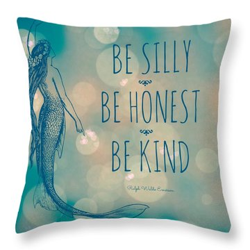 Silly Honest Kind Mermaid V5 Throw Pillow by Brandi Fitzgerald