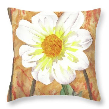Single White Flower Throw Pillow by Ken Powers