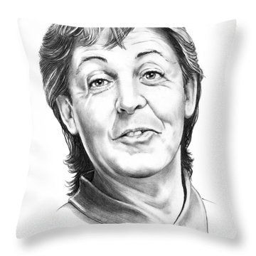 Sir Paul Mccartney Throw Pillow by Murphy Elliott