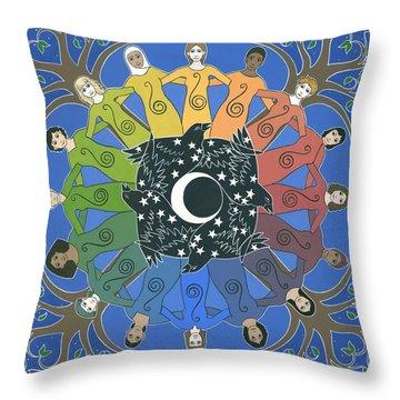 Sister Circle Throw Pillow by Karen MacKenzie