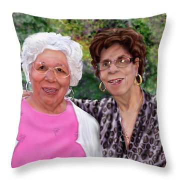 Sisters -commissioned  Throw Pillow by Reggie Duffie