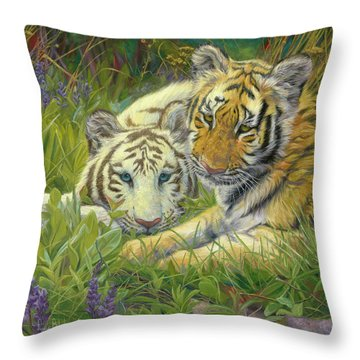 Sisters Throw Pillow by Lucie Bilodeau