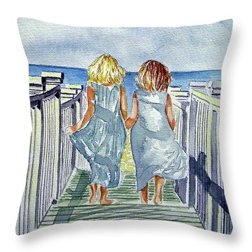Sisters Throw Pillow by Paul SANDILANDS