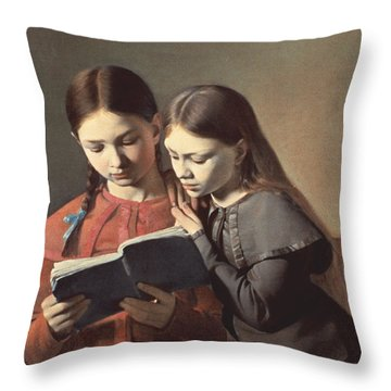 Sisters Reading A Book Throw Pillow by Carl Hansen